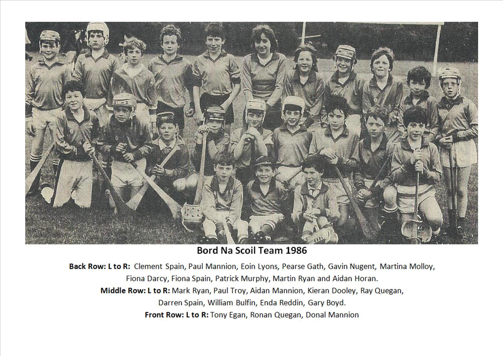Bord Na Scoil Team 1986